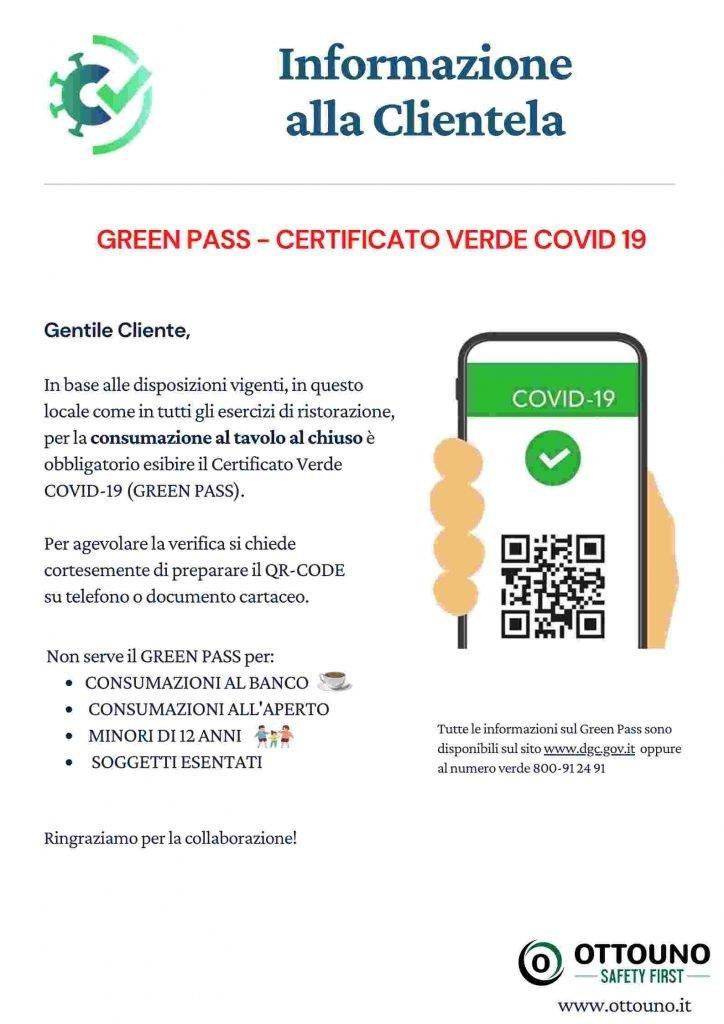 Informativa green pass per ristoranti e bar